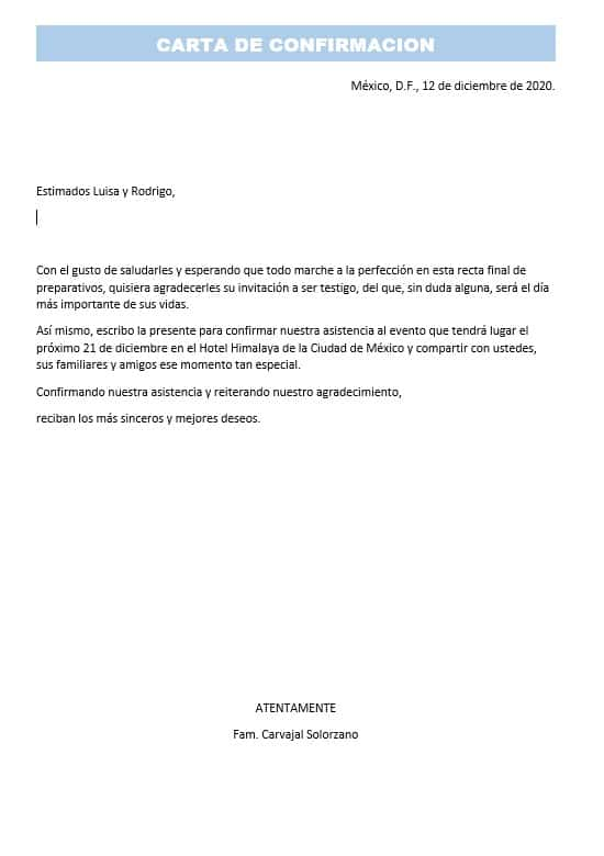CARTA DE CONFIRMACIÓN