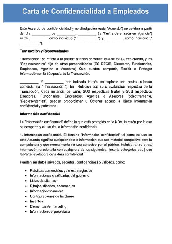 Carta De Confidencialidad A Empleados – Ejemplos Y Modelos Para Usar