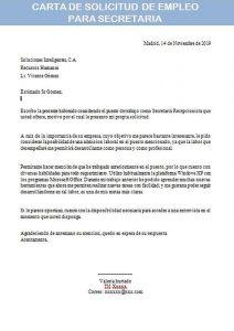carta de solicitud de empleo para secretaria