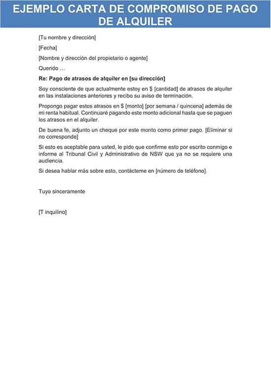 carta compromiso de pago