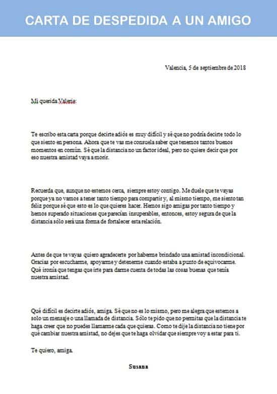 carta de despedida a un amigo