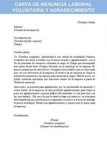 carta de renuncia laboral voluntaria y agradecimiento