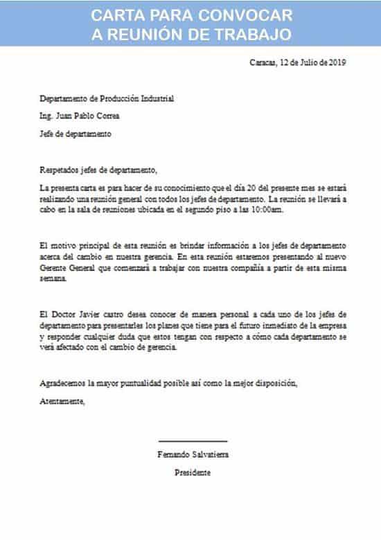 carta para convocar a reunión de trabajo