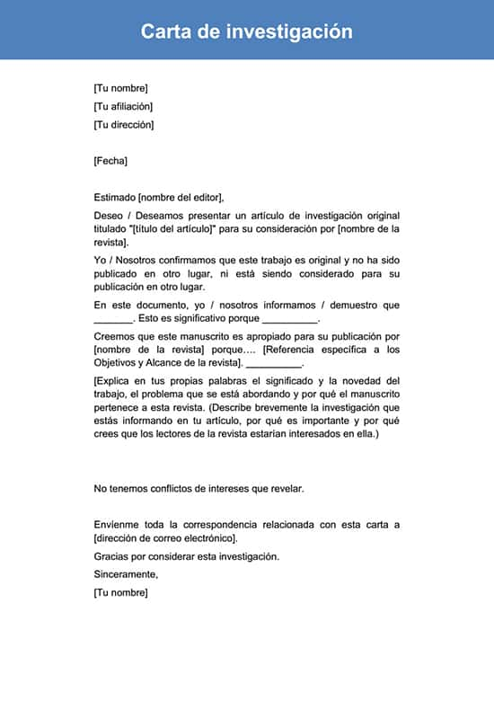 Carta de investigación