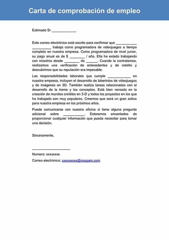 Carta de comprobación de empleo