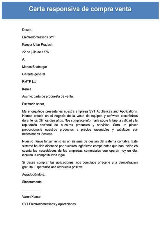 Carta Responsiva De Compra Venta
