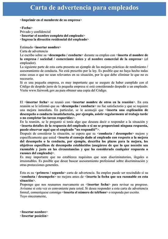 Carta De Advertencia Para Empleados