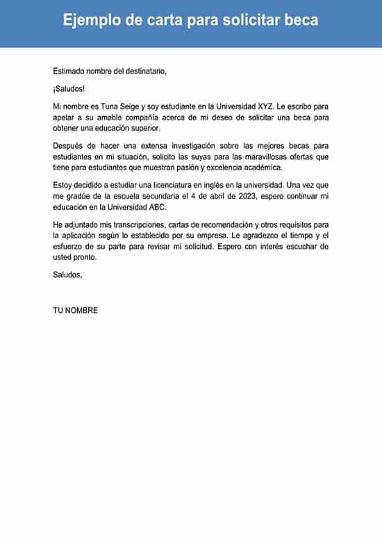Carta para solicitar beca