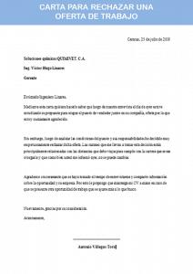 carta para rechazar una oferta de trabajo