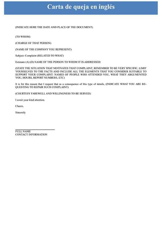 Carta De Quejas En Inglés