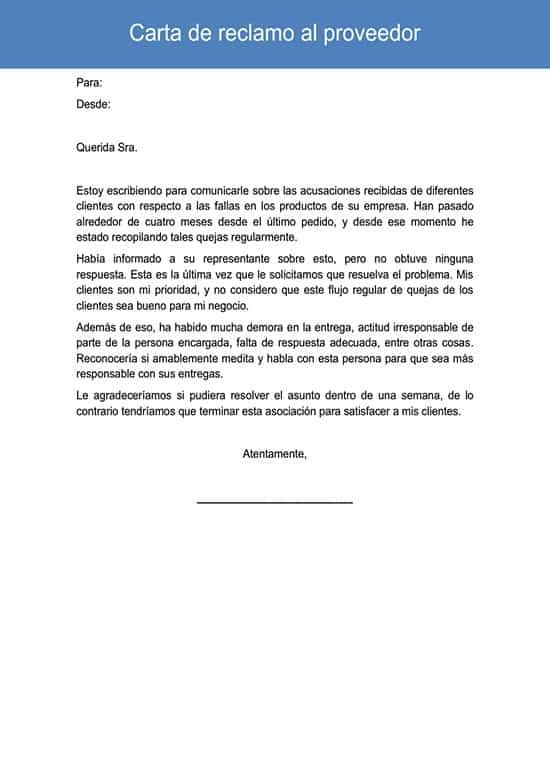 Carta de reclamo al proveedor