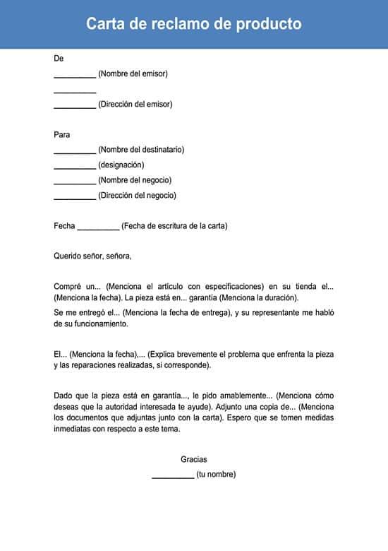 Carta de reclamo de producto