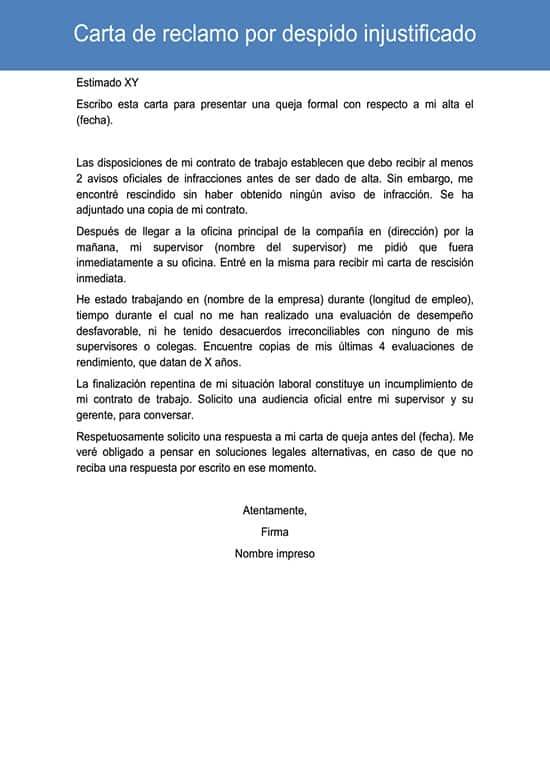 Carta de reclamo por despido injustificado