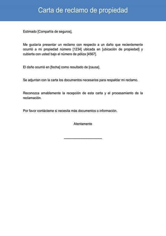 Carta De Reclamo De Propiedad