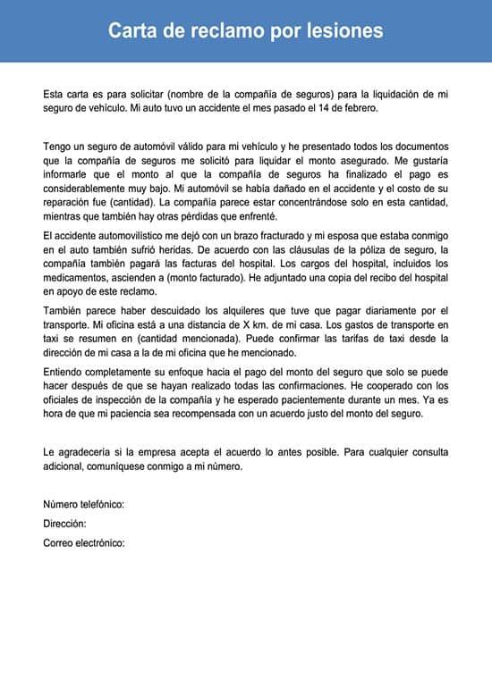 Carta de reclamo por lesiones