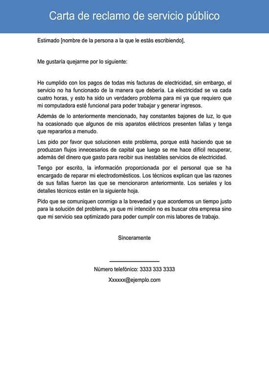 Carta de reclamo de servicio público
