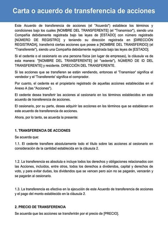 Carta De Ventas De Acciones O Acuerdo De Compraventa