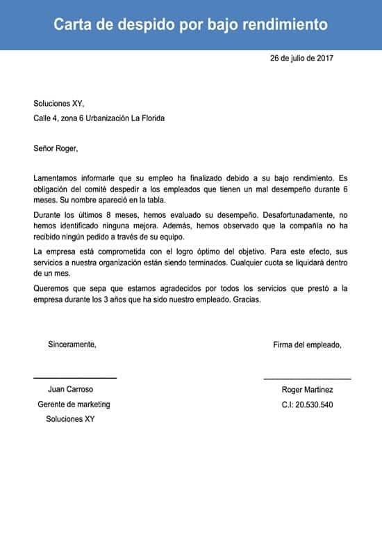 Carta De Despido Por Bajo Rendimiento