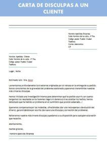 carta de disculpas a un cliente