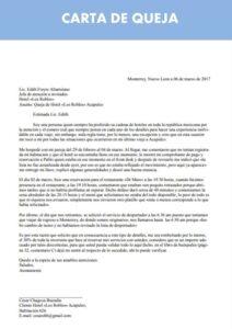 carta de queja