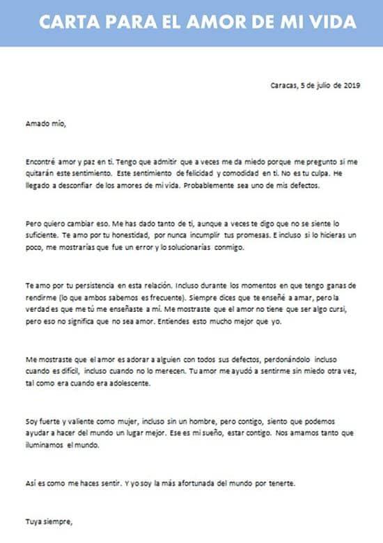 Carta Para el Amor de mi Vida