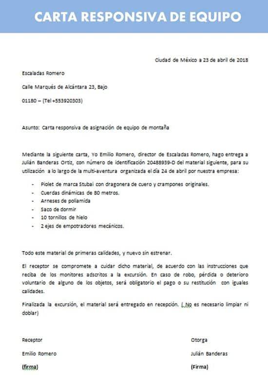 Carta Responsiva de Equipo