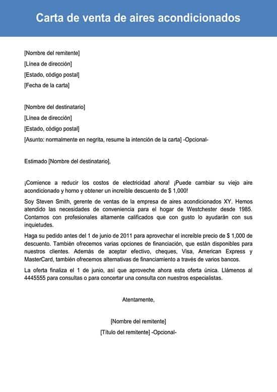 Carta De Venta De Aires Acondicionados