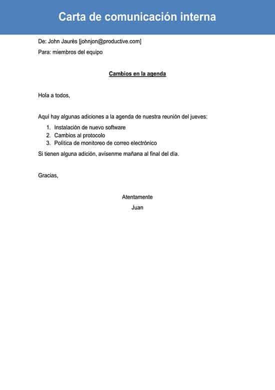 Carta De Comunicación Interna