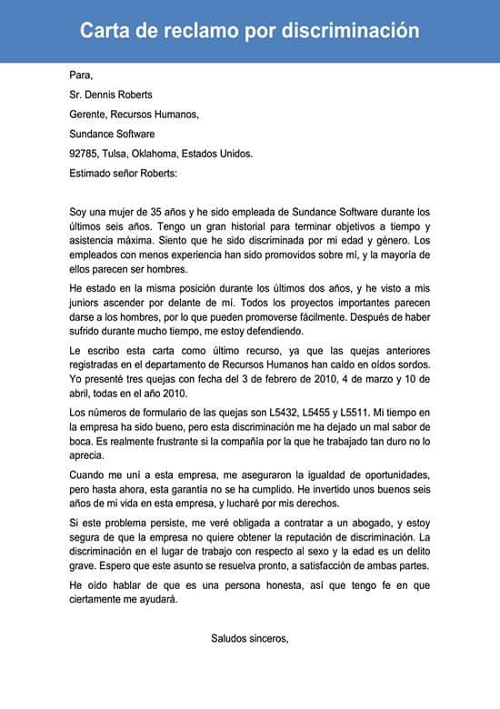 Carta De Reclamo Por Discriminación