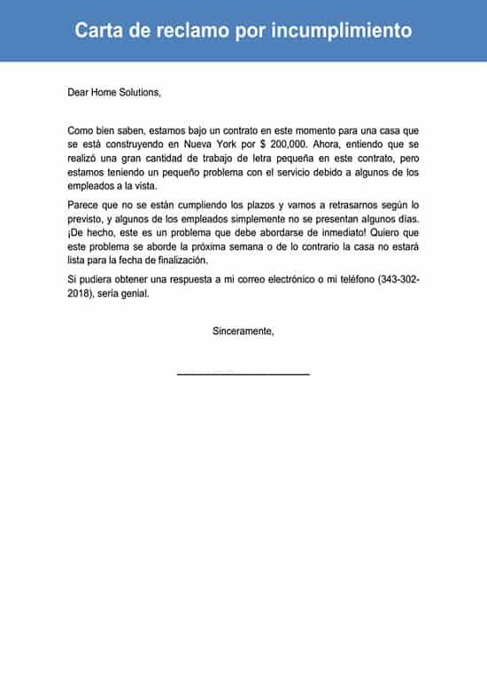 Carta De Reclamo Por Incumplimiento