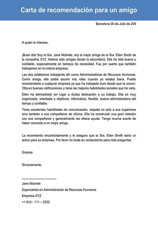 Carta De Recomendación Para Un Amigo