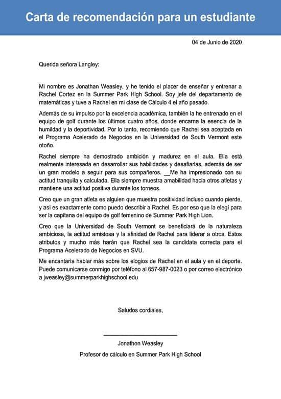 Carta De Recomendación Para Un Estudiante