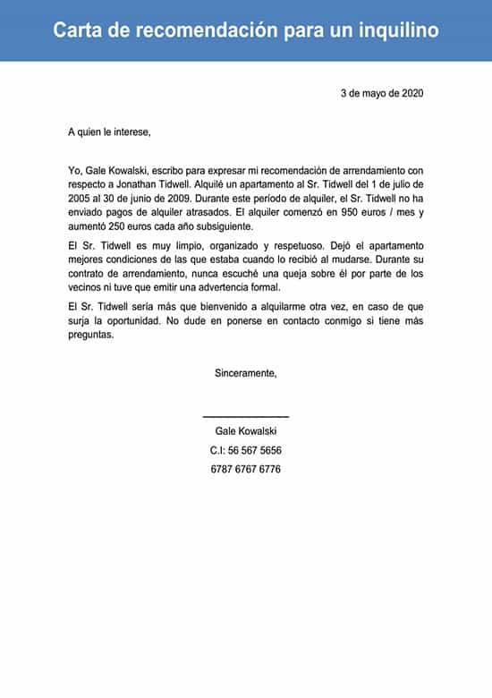 Carta De Recomendación Para Un Inquilino