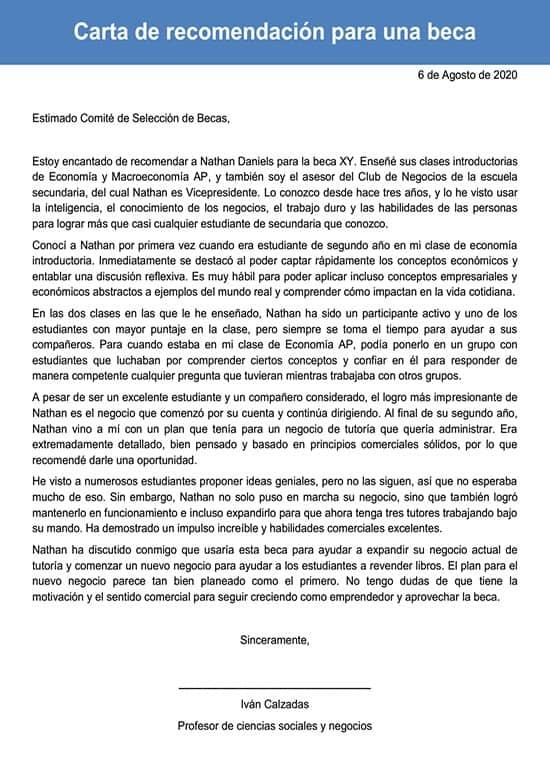 Carta De Recomendación Para Una Beca