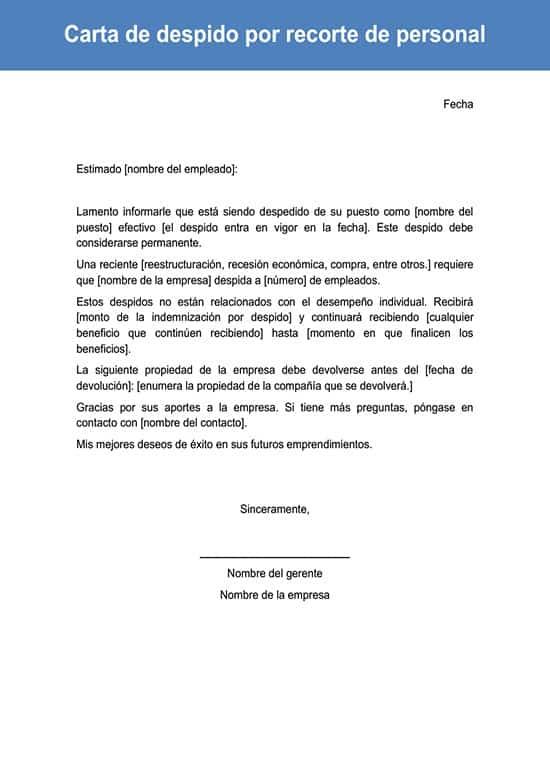Carta De Despido Por Recorte De Personal