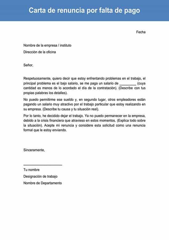 Carta De Renuncia Por Falta De Pago