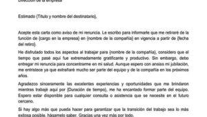 Carta de renuncia por jubilación