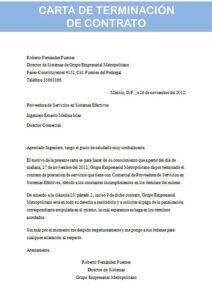 Carta de Terminación de Contrato