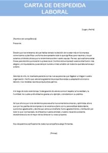 carta de despedida laboral