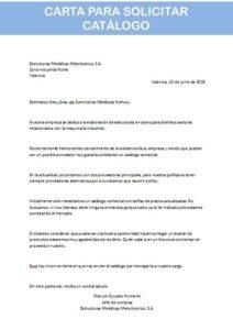 carta para solicitar catálogo