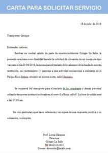 carta para solicitar servicio