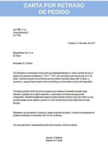 carta por retraso de pedido
