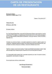 carta de presentación de un restaurante