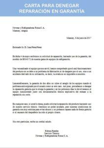 carta para denegar reparación en garantía