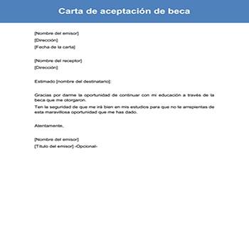 Carta de aceptación de beca