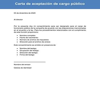 Carta de aceptación de cargo público