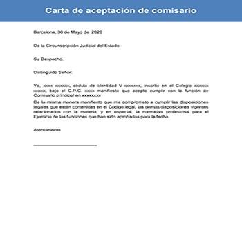 Carta de aceptación de comisario