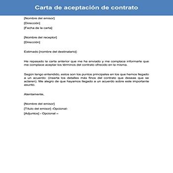 Carta de aceptación de contrato