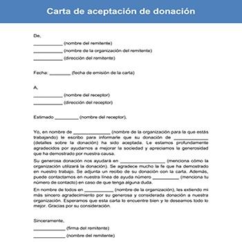 Carta de aceptación de donación