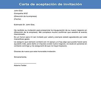 Carta de aceptación de invitación